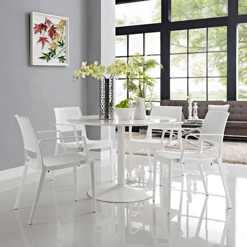 Modway Furniture Astute Dining Set  of 4 in White