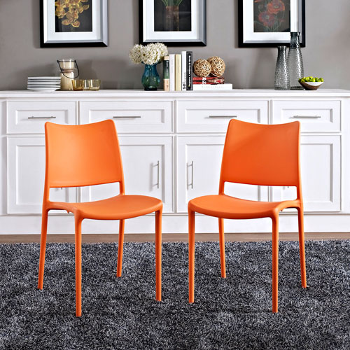 Hipster Dining Side Chair Set of 2 in Orange