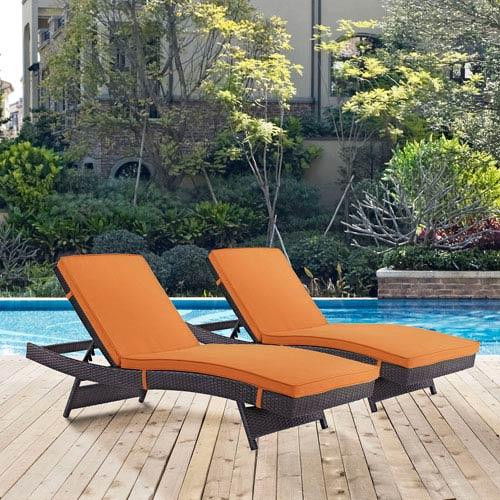 Modway Furniture Convene Chaise Outdoor Patio Set of 2 in Espresso Orange