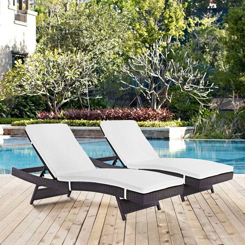 Modway Furniture Convene Chaise Outdoor Patio Set of 2 in Espresso White