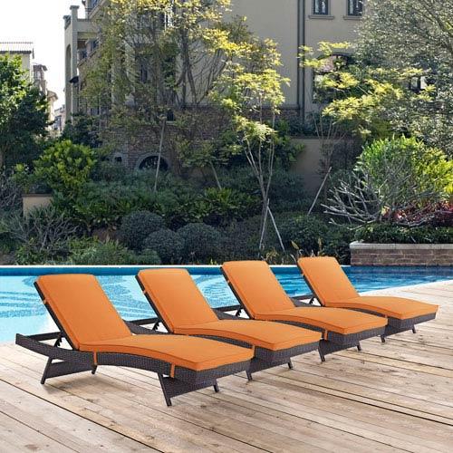 Modway Furniture Convene Chaise Outdoor Patio Set of 4 in Espresso Orange