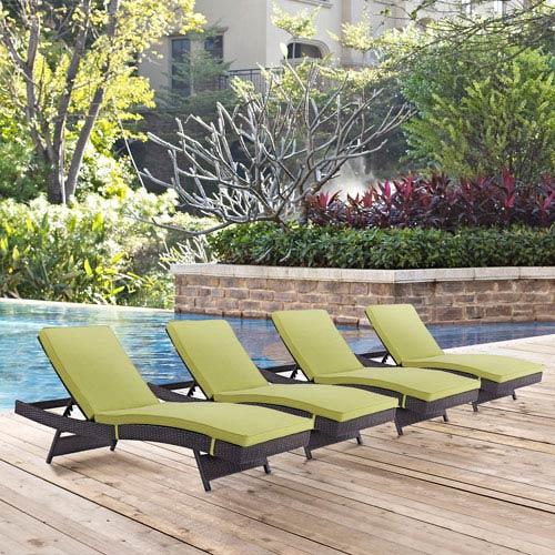 Modway Furniture Convene Chaise Outdoor Patio Set of 4 in Espresso Peridot