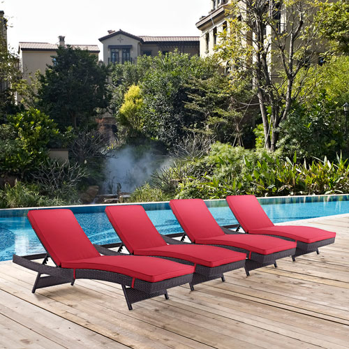 Modway Furniture Convene Chaise Outdoor Patio Set of 4 in Espresso Red
