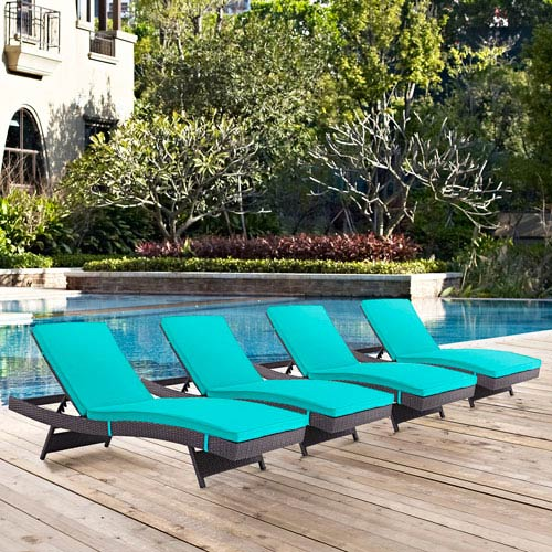 Modway Furniture Convene Chaise Outdoor Patio Set of 4 in Espresso Turquoise