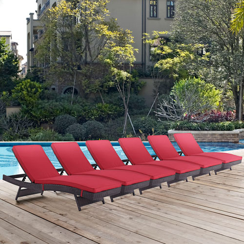 Modway Furniture Convene Chaise Outdoor Patio Set of 6 in Espresso Red