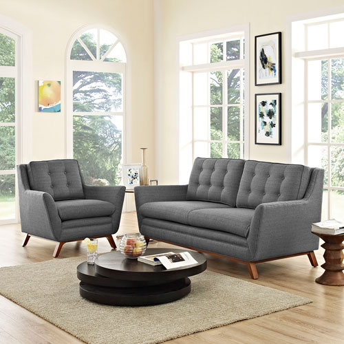 Beguile Living Room Set Fabric Set of 2 in Gray