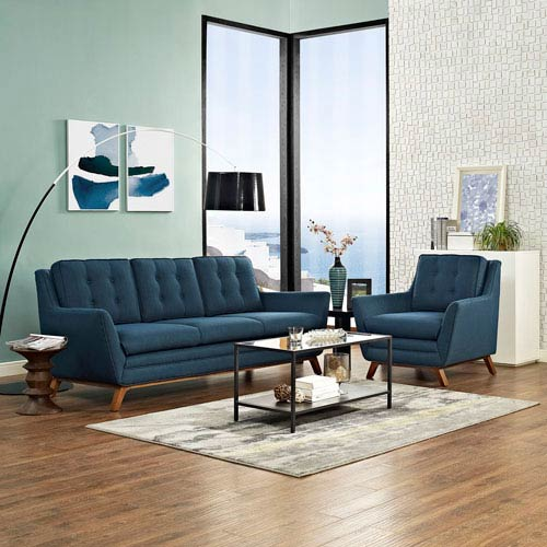 Beguile Living Room Set Fabric Set of 2 in Azure