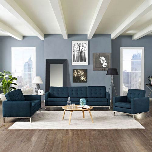Modway Furniture Loft Living Room Set Fabric Set of 3 in Azure