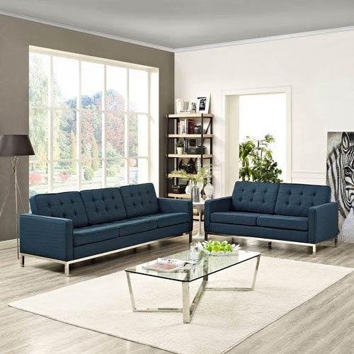 Modway Furniture Loft Living Room Set Fabric Set of 2 in Azure