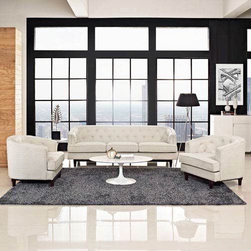 Modway Furniture Coast Living Room Set  of 3 in Beige