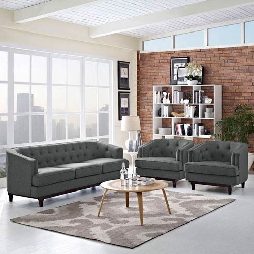 Modway Furniture Coast Living Room Set  of 3 in Gray