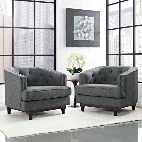 Modway Furniture Coast Armchairs Set of 2 in Gray