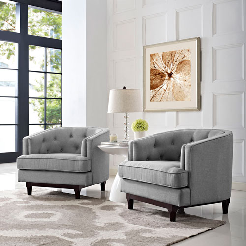 Modway Furniture Coast Armchairs Set of 2 in Light Gray