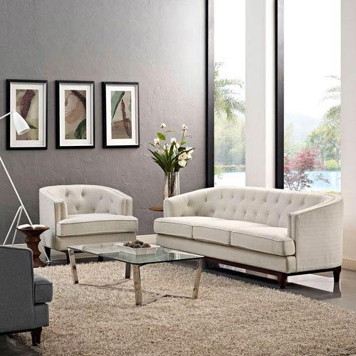 Modway Furniture Coast Living Room Set  of 2 in Beige