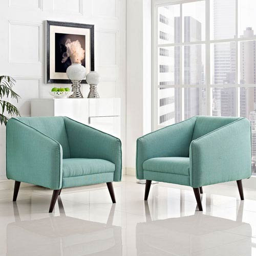 Modway Furniture Slide Armchairs Set of 2 in Laguna