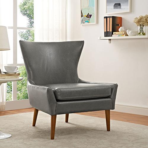 Keen Upholstered Vinyl Armchair in Gray