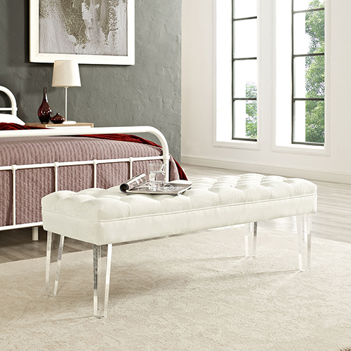 Valet Velvet Bench in Ivory