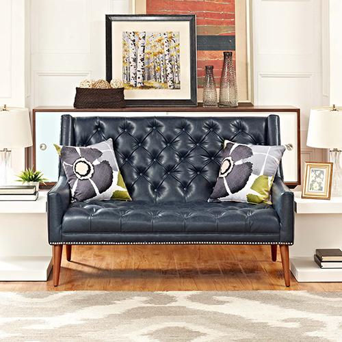 Modway Furniture Peruse Upholstered Vinyl Loveseat in Blue