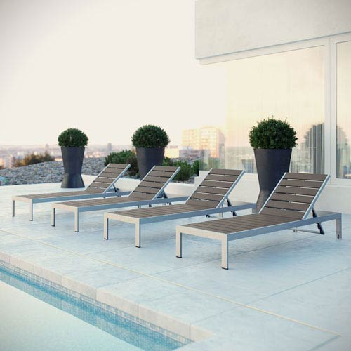 Modway Furniture Shore Outdoor Patio Chaise Outdoor Patio Aluminum Set of 4 in Silver Gray