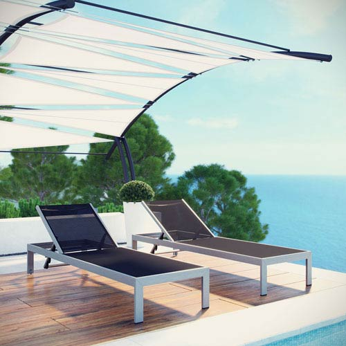 Shore Outdoor Patio Chaise Outdoor Patio Aluminum Set of 2 in Silver Black