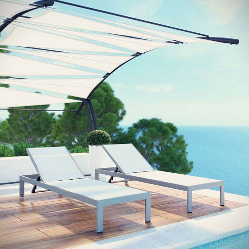 Shore Outdoor Patio Chaise Outdoor Patio Aluminum Set of 2 in Silver White