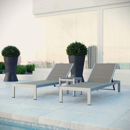 Modway Furniture Shore Outdoor Patio Set Outdoor Patio Aluminum Set of 3 in Silver Gray