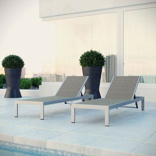 Modway Furniture Shore Outdoor Patio Chaise Outdoor Patio Aluminum Set of 2 in Silver Gray