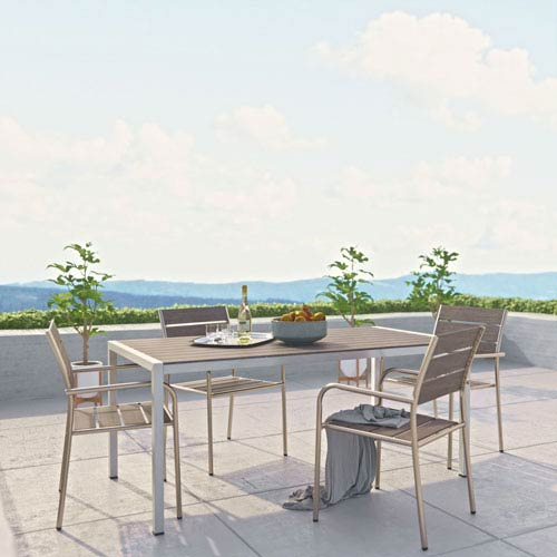 Silver Patio Furniture.Modway Furniture Shore 5 Piece Outdoor Patio Aluminum Dining Set In Silver Gray