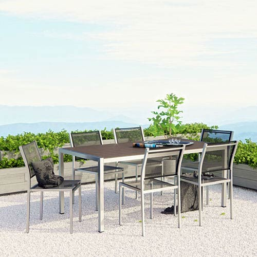 Modway Furniture Shore 7 Piece Outdoor Patio Aluminum Dining Set in Silver Black