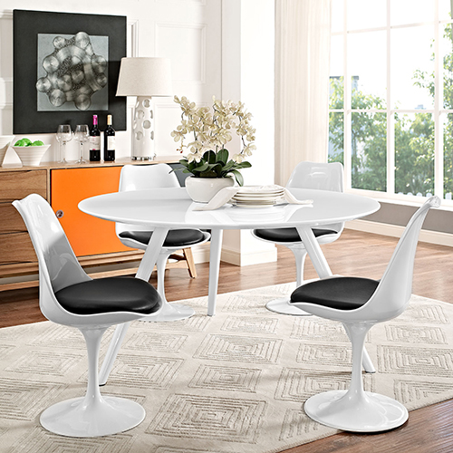 Lippa 54 Inch Round Wood Top Dining Table with Tripod Base in White