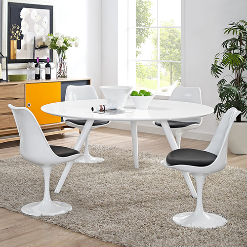 Lippa 60 Inch Round Wood Top Dining Table with Tripod Base in White