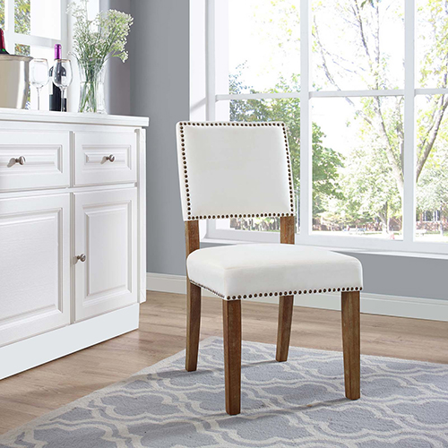 Modway Furniture Oblige Wood Dining Chair in Ivory