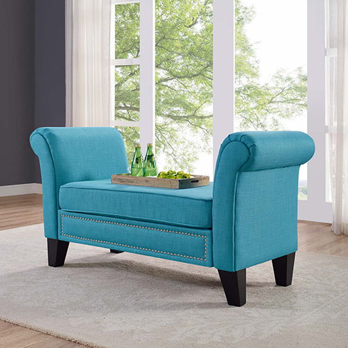 Modway Furniture Rendezvous Bench in Pure Water