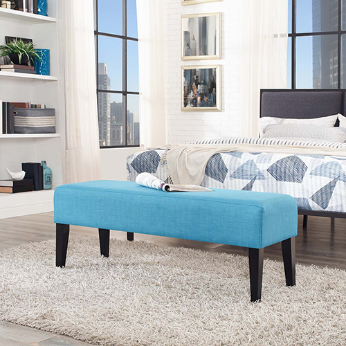 Modway Furniture Connect Wood Bench in Pure Water