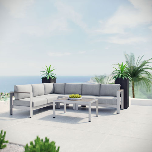 Modway Furniture Shore 5 Piece Outdoor Patio Aluminum Sectional Sofa Set in Silver Gray