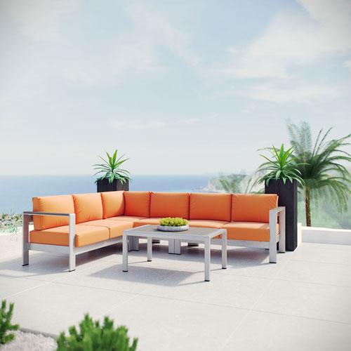Modway Furniture Shore 5 Piece Outdoor Patio Aluminum Sectional Sofa Set in Silver Orange