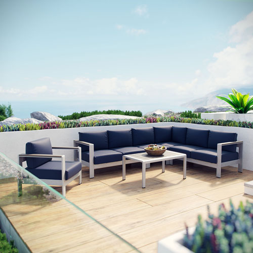 Modway Furniture Shore 6 Piece Outdoor Patio Aluminum Sectional Sofa Set in Silver Navy