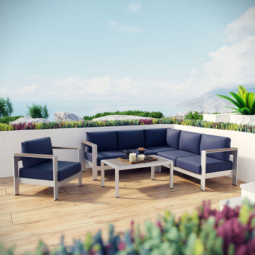 Modway Furniture Shore 5 Piece Outdoor Patio Aluminum Sectional Sofa Set in Silver Navy