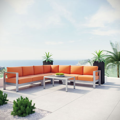 Modway Furniture Shore 6 Piece Outdoor Patio Aluminum Sectional Sofa Set in Silver Orange
