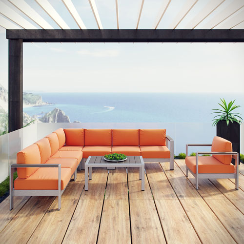 Shore 7 Piece Outdoor Patio Aluminum Sectional Sofa Set in Silver Orange