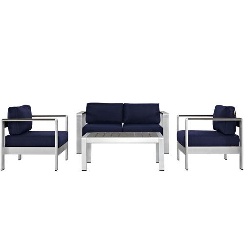 Shore 4 Piece Outdoor Patio Aluminum Sectional Sofa Set in Silver Navy