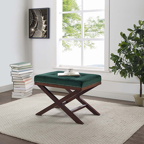 Modway Furniture Facet Wood Bench in Green