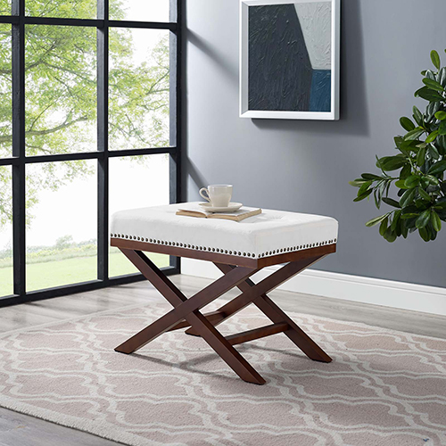 Modway Furniture Facet Wood Bench in Ivory