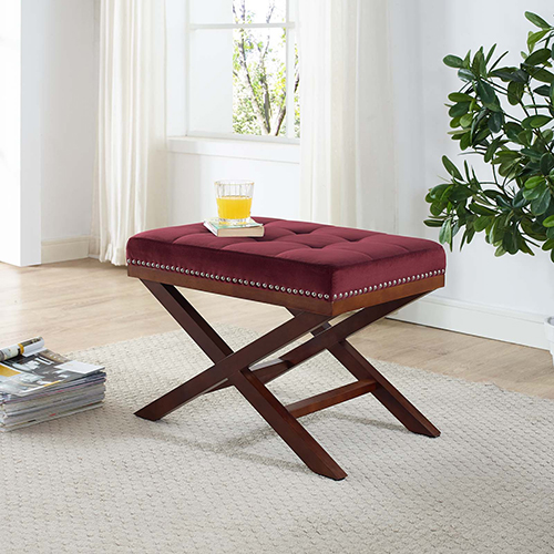 Modway Furniture Facet Wood Bench in Maroon