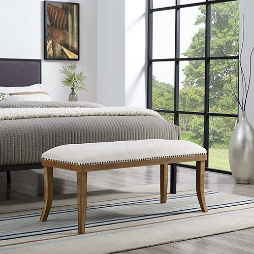 Expression Upholstered Fabric Bench in Ivory