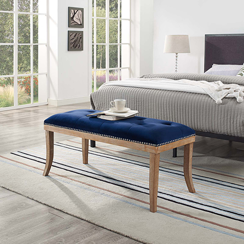 Modway Furniture Expression Upholstered Fabric Bench in Navy
