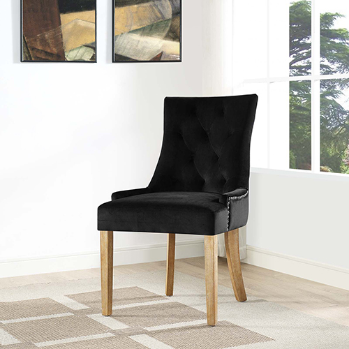 Pose Upholstered Fabric Dining Chair in Black