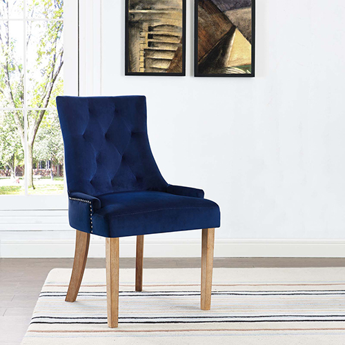 Pose Upholstered Fabric Dining Chair in Navy