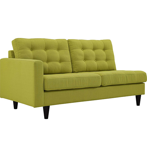 Empress Left-Facing Upholstered Fabric Loveseat in Wheatgrass