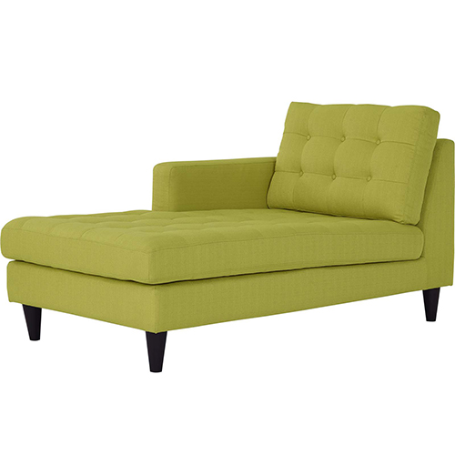 Empress Left-Arm Upholstered Fabric Chaise in Wheatgrass